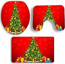 SYY 3 PCS Weihnachten Badezimmer Rutschfeste Sockel Teppich + Deckel Wc-abdeckung + Badematte Set (F)