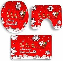 SYY 3 PCS Weihnachten Badezimmer Rutschfeste Sockel Teppich + Deckel Wc-abdeckung + Badematte Set (A)