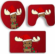 SYY 3 PCS Weihnachten Badezimmer Rutschfeste Sockel Teppich + Deckel Wc-abdeckung + Badematte Set (D)