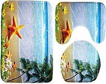 SYY 3 Stück / Set Bad mit dem größten blauen Ozean Stil Sockel Teppich + Deckung WC Abdeckung + Badematte (B)