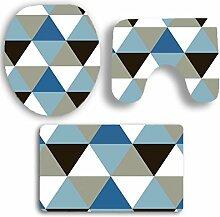 SYY 3 STÜCKE Drucken Badezimmer Rutschfeste Sockel Teppich + Deckel Wc-abdeckung + Badematte Set (C)