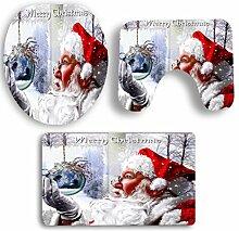 SYY 3 STÜCKE Rutschfeste Sockel Teppich Weihnachten Bad + Deckel Wc-abdeckung + Badematte Set (E)