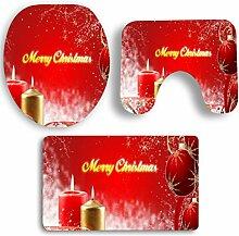 SYY 3 STÜCKE Rutschfeste Sockel Teppich Weihnachten Bad + Deckel Wc-abdeckung + Badematte Set (I)
