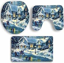 SYY 3 STÜCKE Rutschfeste Sockel Teppich Weihnachten Bad + Deckel Wc-abdeckung + Badematte Set (C)