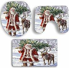 SYY 3 STÜCKE Rutschfeste Sockel Teppich Weihnachten Bad + Deckel Wc-abdeckung + Badematte Set (B)