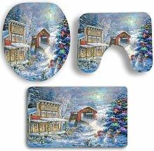 SYY 3 STÜCKE Rutschfeste Sockel Teppich Weihnachten Bad + Deckel Wc-abdeckung + Badematte Set (F)