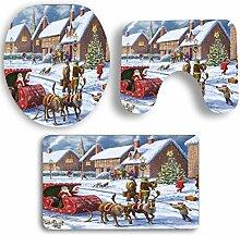 SYY 3 STÜCKE Rutschfeste Sockel Teppich Weihnachten Bad + Deckel Wc-abdeckung + Badematte Set (G)