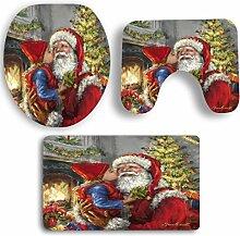 SYY 3 STÜCKE Weihnachten Bad Rutschfeste Sockel Teppich + Deckel Toilettendeckel + Badematte Set (G)