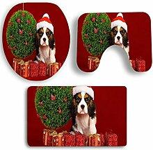 SYY 3 STÜCKE Weihnachten Bad Rutschfeste Sockel Teppich + Deckel Toilettendeckel + Badematte Set (B)