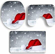 SYY 3 STÜCKE Weihnachten Bad Rutschfeste Sockel Teppich + Deckel Toilettendeckel + Badematte Set (A)