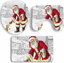 SYY 3 STÜCKE Weihnachten Bad Rutschfeste Sockel Teppich + Deckel Toilettendeckel + Badematte Set (F)