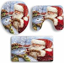 SYY 3 STÜCKE Weihnachten Badezimmer Rutschfeste Sockel Teppich + Deckel Wc-abdeckung + Badematte Set (B)