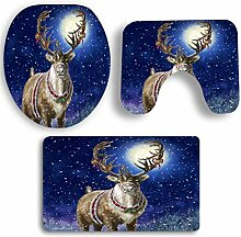 SYY 3 STÜCKE Weihnachten Badezimmer Rutschfeste Sockel Teppich + Deckel Wc-abdeckung + Badematte Set (A)