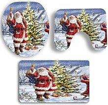 SYY 3 STÜCKE Weihnachten Badezimmer Rutschfeste Sockel Teppich + Deckel Wc-abdeckung + Badematte Set (D)
