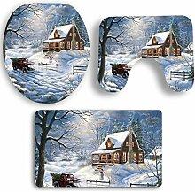 SYY 3 STÜCKE Weihnachten Deckel Wc-abdeckung Bad Rutschfeste Sockel Teppich Badematte Set (E)