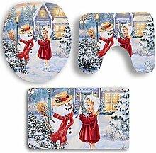 SYY 3 STÜCKE Weihnachten Deckel Wc-abdeckung Bad Rutschfeste Sockel Teppich Badematte Set (C)