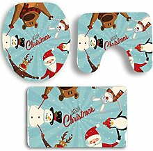 SYY 3 STÜCKE Weihnachten Deckel Wc-abdeckung Bad Rutschfeste Sockel Teppich Badematte Set (F)