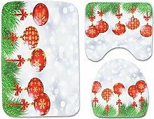 SYY 3 teile / satz Weihnachten Badezimmer Rutschfeste Blaue Ozean Stil Sockel Teppich + Deckel Wc-abdeckung + Badematte (B)