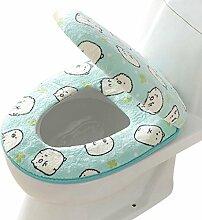 SYY Korallen Fleece 2 Stück Set Töpfchen WC Abdeckung WC-Matte Komfortable Kissen Sitzen (Blau)