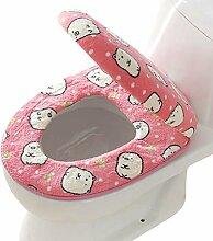 SYY Korallen Fleece 2 Stück Set Töpfchen WC Abdeckung WC-Matte Komfortable Kissen Sitzen (Rosa)