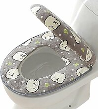 SYY Korallen Fleece 2 Stück Set Töpfchen WC Abdeckung WC-Matte Komfortable Kissen Sitzen (Grau)