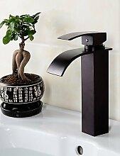 SZ Badezimmer Deck montiert oil-rubbed Bronze Wasserfall schwarz Waschbecken Wasserhahn