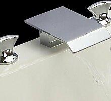 SZ Chrome Finish 3Löcher 2Griffe Wasserfall breitgefächert Waschbecken Armaturen