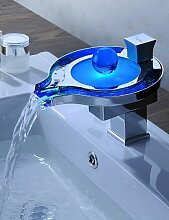 SZ Farbwechsel LED Wasserfall Waschbecken Armaturen (Einzigartiges Design)