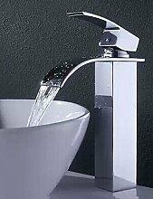 SZ Moderne Messing Wasserfall Waschbecken Armaturen (hoch)
