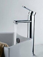 SZ Shengbaier Moderne Messing Waschbecken Wasserhahn–Chrom-Finish (hoch)