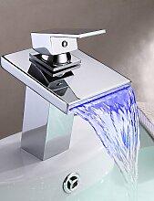SZ Waschbecken Armaturen im modernen Stil Thermochrome Mehrfarbig LED Edelstahl Auslauf Wasserhahn