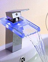 SZ Waschbecken Armaturen Single Griff Wasserhahn Farbwechsel LED Wasserfall (verchromt)