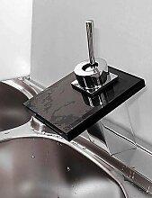 SZ Wasserfall Waschbecken Wasserhahn mit schwarzem Glas Auslauf