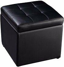 sz5cgjmy ® platzsparend osmanischen Pouf Aufbewahrung einzigen Sitz Spielzeug Box Fuß Hocker Kunstleder schwarz