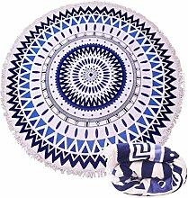 szjh Mikrofaser groß rund Strand Decke mit Quasten Ultra Soft Super Wasser absorbierenden Mehrzweck-Handtuch 149,9cm auf  Strand Werfen, indischen Mandala Wandteppich, Yoga Mat, Picknick, Tisch Überwurf, Mikrofaser, Mandala blue, 150cm*150cm