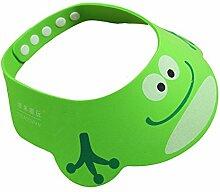 Sztara Duschhaube / Sonnenschutz für Babys und Kinder, zum Schutz vor Haarshampoo, mit Cartoon-Motiv, verstellbar, weich, Ethylenvinylacetat, grün, Standard