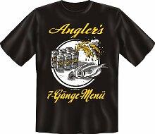 T-Shirt - Angler 7 Gänge Grill Bier - Fun Spruch T-Shirt 100% Baumwolle - Grösse M