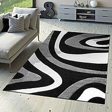 T&T Design Designer Teppich Modern Kurzflor Mallorca mit Wellen Muster Grau Schwarz Creme, Größe:120x170 cm