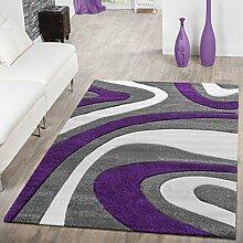T&T Design Designer Teppich Modern Kurzflor Mallorca mit Wellen Muster in Lila Schwarz Weiß, Größe:160x230 cm