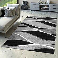 T&T Design Designer Teppich Toledo Modern Meliert Streifen mit Grau-Töne in Schwarz Weiß, Größe:200x290 cm