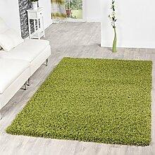 T&T Design Hochflor Shaggy Teppich Preishammer Einfarbig in Grün Modern, Größe:100x200 cm
