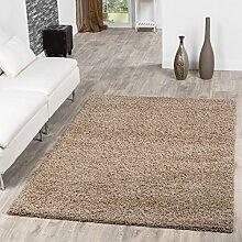 T&T Design Hochflor Shaggy Teppich Preishammer Uni Einfarbig in Beige Modern, Größe:300x400 cm