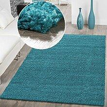 T&T Design Hochflor Shaggy Teppich Preishammer Uni Einfarbig in Türkis Modern, Größe:70x250 cm