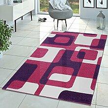 T&T Design Kinderzimmer Teppich Pink Lila Creme Retro Model für Mädchen Zimmer Kurzflor, Größe:200x280 cm
