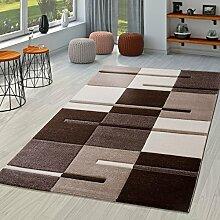 T&T Design Moderner Wohnzimmer Teppich Braun Beige Creme Karo Muster mit Konturenschnitt, Größe:240x330 cm