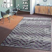 T&T Design Moderner Wohnzimmer Teppich Hochwertig 3D Zick Zack Vintage Lila Creme Grau, Größe:160x230 cm