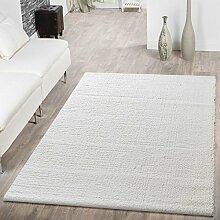 T&T Design Shaggy Teppich Hochflor Modern Einfarbig Kuschelig Weich Wohnzimmer Creme, Größe:Ø 120 cm Rund