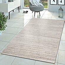 T&T Design Teppich Braga Modern Kurzflor Teppiche Wohnzimmer Einfarbig Meliert Uni Creme, Größe:70x140 cm