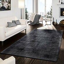 T&T Design Teppich Handgetuftet Modern Edel Viskose Garn Schimmer Glanz Anthrazit, Größe:200x300 cm