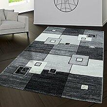 T&T Design Teppich Pisa Muster Rechtecke Kariert Wohnzimmerteppich Grau Schwarz Creme, Größe:120x170 cm